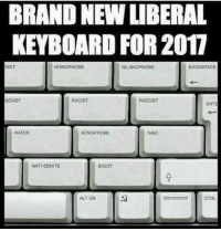 East Tennessee Mountain Militia: BRAND NEW LIBERAL  KEYBOARD FOR 2017  HOMOPHOBE  SUAMOPHOBE  BACKSPACE  SEXIST  FASCIST  RACIST  HATER  XENOPHCEBE  ANTISEMITE  BIGOT  ALT GR  CTRL East Tennessee Mountain Militia