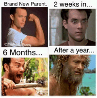 Dank, Parents, and Brand New: Brand New Parent.  2 weeks in...  6 Months  After a year Seems about right 😜