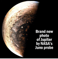 Fresh, Memes, and Cloud: Brand new  photo  of Jupiter  by NASA's  Juno probe NASA's Juno spacecraft just sent NEW images of Jupiter, and they're stunning. Completing its fifth orbit this week it captured a fresh batch of images that are already being colour enhanced by artists (like the one shown here). Launched in 2011, the probe took nearly five years to reach the largest planet in our solar system. So far, it has photographed the gas giants' poles, and detected strange cloud formations and auroras. Juno's next flyby should happen mid-May before it makes the full plunge into its atmosphere in 2018.