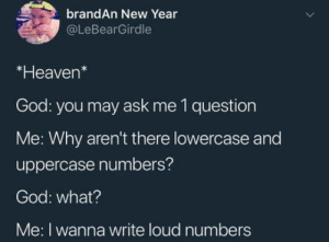God, Heaven, and New Year's: brandAn New Year  @LeBearGirdle  *Heaven*  God: you may ask me 1 question  Me: Why aren't there lowercase and  uppercase numbers?  God: what?  Me: I wanna write loud numbers Loud numbers