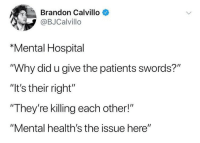"Fucking, Hospital, and Swords: Brandon Calvillo  @BJCalvillo  ""Mental Hospital  ""Why did u give the patients swords?""  ""It's their right""  They're killing each other!""  ""Mental health's the issue here"" <p>This tweet makes no fucking sense on any conceivable level.</p>"