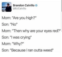 """Brandon Calvillo: Brandon Calvillo  @BJCalvillo  Mom: """"Are you high?""""  Son: """"No""""  Mom: """"Then why are your eyes red?""""  Son: """"l was crying  Mom: """"Why?""""  Son: """"Because I ran outta weed""""  I1"""