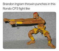 Basketball, Nba, and Sports: Brandon Ingram throwin punches in this  Rondo CP3 fight like Arms too long 😂 (Via ‪ChrisGwappin‬-Twitter)