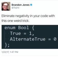 One Weird Trick: Brandon Jones  @Tojiro  Eliminate negativity in your code with  this one weird trick  enum Bool  True  1,  Alternate True  0  1/22/17, 1:47 PM