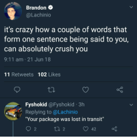 """9/11, Crazy, and Crush: Brandon  @Lachinio  it's crazy how a couple of words that  form one sentence being said to you,  can absolutely crush you  9:11 am 21 Jun 18  11 Retweets 102 Likes  Fyshokid @Fyshokid 3h  Replying to @Lachinio  """"Your package was lost in transit""""  2 <p>Invest in this format? via /r/MemeEconomy <a href=""""https://ift.tt/2JWCKD5"""">https://ift.tt/2JWCKD5</a></p>"""