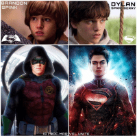 Batman, Future, and Memes: BRANDON  SPINK  IGI OC.MARIVEL UNITE  DYLAN  SPRAY BERRY Who would want to see The Younger Versions of HenryCavill's ClarkKent and BenAffleck's BruceWayne Play their SideKicks !? 😱 I would love to see @Brandon.Spink as DamianWayne ( Robin) in a Future ' Batman' Movie Along with @DylanSprayberry as SuperBoy in The ' ManofSteel' Sequel ! Please make this Happen DC, they're both very talented Actors and have both worked with ZackSnyder ! But Comment Below who you would Cast for 'ROBIN' and 'SUPERBOY' in The DCEU ! Fingers Crossed for BrandonSpink and DylanSprayberry ! I want to see them in a ' TeenTitans' Movie ! DCExtendedUniverse 💥 DCFilms Right Artist : @samuelcheve Left Artist : @spidermaguireart