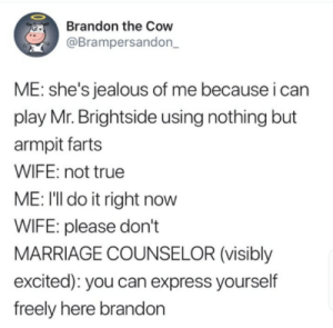 Jealous, Marriage, and True: Brandon the Cow  @Brampersandon_  ME: she's jealous of me because i can  play Mr. Brightside using nothing but  armpit farts  WIFE: not true  ME: I'll do it right now  WIFE: please don't  MARRIAGE COUNSELOR (visibly  excited): you can express yourself  freely here brandon meirl