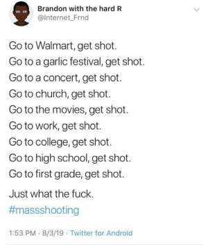 Immigrants and brown ppl don't do this. Just saying: Brandon with the hard R  @Internet_Frnd  Go to Walmart, get shot.  Go to a garlic festival, get shot.  Go to a concert, get shot.  Go to church, get shot.  Go to the movies, get shot.  Go to work, get shot.  Go to college, get shot.  Go to high school, get shot.  Go to first grade, get shot.  Just what the fuck.  #massshooting  1:53 PM 8/3/19 Twitter for Android Immigrants and brown ppl don't do this. Just saying