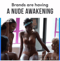 Memes, Nude, and 🤖: Brands are havin  A NUDE AWAKENING  B COURTESY OF NUBIAN SKIN Brands are starting to redefine nude by including shades for people of color.