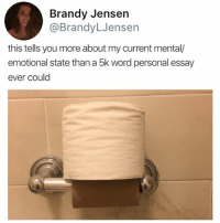 Memes, Word, and Brandy: Brandy Jensen  @BrandyLJensen  this tells you more about my current mental/  emotional state than a 5k word personal essay  ever could Same @brandyljensen
