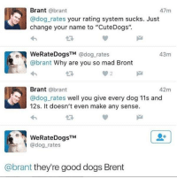 "They are all good dogs: Brant @brant  @dog rates your rating system sucks. Just  change your name to ""CuteDogs"".  47m  oWeRateDogsTM @dog.rates  43m  @brant Why are you so mad Bront  23  Brant @brant  @dog rates well you give every dog 11s and  12s. It doesn't even make any sense.  42m  WeRateDogsTM  @dog_rates  @brant they're good dogs Brent They are all good dogs"