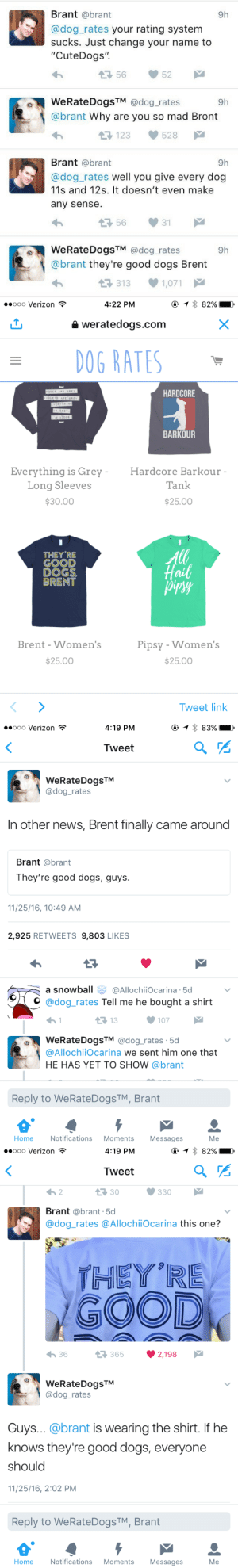"""Re Good: Brant @brant  @dog_rates your rating system  sucks. Just change your name to  """"CuteDogs"""".  9h  35652  WeRateDogsTM @dog_rates  @brant Why are you so mad Bront  9h  1123528  Brant @brant  @dog_rates well you give every dog  11s and 12s. It doesn't even make  any sense.  9h  WeRateDogsTM @dog_rates  @brant they're good dogs Brent  9h  3131,071   ..ooo Verizon  4:22 PM  weratedogs.com  0G RATES  HARDCORE  BARKOUR  Everything is Grey Hardcore Barkour  Tank  Long Sleeves  $30.00  $25.00  THEY'RE  GOOD  DOGS  BRENT  Hail  Brent -Women's  Pipsy - Women's  $25.00  $25.00  Tweet link   ..ooo Verizon  4:19 PM  Tweet  WeRateDogsTM  C@dog_rates  In other news, Brent finally came around  Brant @brant  They're good dogs, guys  11/25/16, 10:49 AM  2,925 RETWEETS 9,803 LIKES  a snowball@AllochiiOcarina 5d  C. @dog-rates Tell me he bought a shirt  13  107  WeRateDogsTM @dog_rates .5d  @AllochiiOcarina we sent him one that  HE HAS YET TO SHOW @brant  Reply to WeRateDogsTM, Brant  Home  Notifications Moments  Messages  Me   ooo Verizon  4:19 PM  Tweet  3 30  Brant @brant.5d  @dog_rates @AllochiiOcarina this one?  THEY RE  GOOD  36  3652,198  WeRateDogsTM  adog_rates  Guys... @brant is wearing the shirt. If he  knows they're good dogs, everyone  should  11/25/16, 2:02 PM  Reply to WeRateDogs TM, Brant  Home  Notifications Moments Messages  Me"""