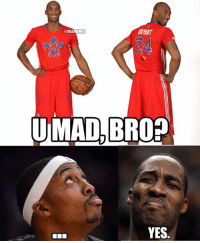 Playing just 6 games this season, Kobe Bryant is a starting the NBA All-Star Game and Dwight is...NOT.: BRANT  @NBAMEMES  UMAD BRO?  YES Playing just 6 games this season, Kobe Bryant is a starting the NBA All-Star Game and Dwight is...NOT.
