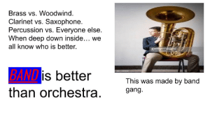 stop battling within the war.: Brass vs. Woodwind.  Clarinet vs. Saxophone.  Percussion vs. Everyone else.  When deep down inside... we  all know who is better.  gettyimáges  BAND is better  This was made by band  than orchestra.  gang. stop battling within the war.