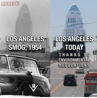 (W) All those pesky liberal environmental regulations limiting our freedoms... just think how GREAT America could be again without them! MORE: https://www.bloomberg.com/news/articles/2018-07-23/trump-is-said-to-seek-repeal-of-california-s-smog-fighting-power?: BRAVE NEW FILMS  HI  IL  LOS ANGELES  SMOG,1954  LOS ANGELES  TODAY  THANKS T  ENVIRONMENTAL  REGULATIONS (W) All those pesky liberal environmental regulations limiting our freedoms... just think how GREAT America could be again without them! MORE: https://www.bloomberg.com/news/articles/2018-07-23/trump-is-said-to-seek-repeal-of-california-s-smog-fighting-power?