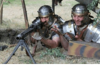 Brave Roman soldiers defend the capital against the approaching Goths (410 A.D., colourized): Brave Roman soldiers defend the capital against the approaching Goths (410 A.D., colourized)