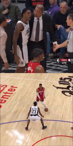 """Watch your ******* mouth, ***** boy!""  Lou Williams to the ref after picking up his 2nd tech for arguing a bad call. https://t.co/Jq2yURjvYk: BRAVES  HOU 90  4TH  1'   PICKETS  23  WILLIAMS ""Watch your ******* mouth, ***** boy!""  Lou Williams to the ref after picking up his 2nd tech for arguing a bad call. https://t.co/Jq2yURjvYk"