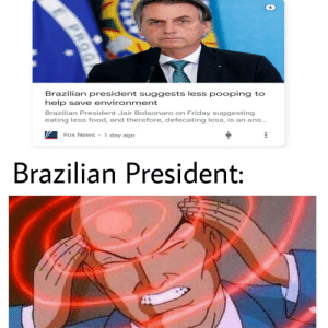 Food, Friday, and News: Brazilian president suggests less pooping to  help save environment  Brazilian President Jair Bolsonaro on Friday suggesting  eating less food, and therefore, defecating less, is an ans...  Fox News 1 day ago  Brazilian President:  PRO It is time for brain