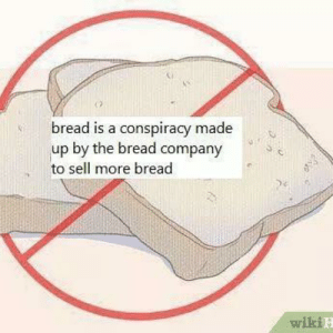 Memes, Conspiracy, and 🤖: bread is a conspiracy made  up by the bread company  to sell more bread  .  wikiE wake up sheeple @wikihowimagemacros