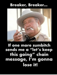 """#jussayin: Breaker, Breaker...  If one more sumbitch  sends me a """"let's keep  this going"""" chain  message, I'm gonna  lose it! #jussayin"""