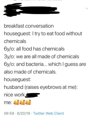 Fake, Food, and Twitter: breakfast conversation  houseguest: I try to eat food without  chemicals  6y/o: all food has chemicals  3y/o: we are all made of chemicals  6y/o: and bacteria... which I guess are  also made of chemicals.  houseguest:  husband (raises eyebrows at me)  nice work  me:  06:59 6/20/19 Twitter Web Client even this fake conversation is made of chemicals!