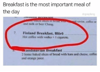 @drgrayfang is absolutely hilarious and a must follow! 😂: Breakfast is the most important meal of  the day  drgrayfang  caviar, coffee or  and milk or beer Chang  7. Finland Breakfast, Blörö  Hot coffee with vodka + 1 cigarette.  andmavian Breakfast...  2 home baked slices of bread with ham and cheese, coffee  and orange juice. @drgrayfang is absolutely hilarious and a must follow! 😂