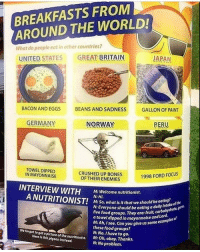 Bones, Food, and Memes: BREAKFASTS FROM  AROUND THE WORLD!  What do people eat in other countries?  UNITED STATES  GREAT BRITAIN  JAPAN  BACON AND EGGS  BEANS AND SADNESS  GALLON OF PAINT  GERMANY  NORWAY  PERU  TOWEL DIPPED  IN MAYONNAISE  CRUSHED UP BONES  OF THEIRENEMIES  1998 FORD FOCUS  INTERVIEW WITH  M: Welcome nutritionist  N: Hi.  M: So, what is it that we should be eat  ould be eating a daily intake of  s. They are: fruit, carbohydrat  five food group  a towel dipped in mayonnaise and Lord.  M: Ah, Isee. Can you give us s  these food groups?  N: No. Ihave to go.  ome exam  We forgot to geto icture of the nutritlonist, M:Oh, okay. Thanks.  Here is this pigeon instead.  N: No problem. omg i forgot to post yesterday