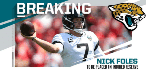 .@Jaguars QB Nick Foles (clavicle) to undergo surgery, be placed on IR with designation to return. (via @RapSheet) https://t.co/dLHpNrJblU: BREAKING  $7  NICK FOLES .@Jaguars QB Nick Foles (clavicle) to undergo surgery, be placed on IR with designation to return. (via @RapSheet) https://t.co/dLHpNrJblU