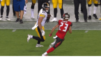 Football, Gif, and Sports: BREAKING: After getting his body, mind and soul stiff armed out of him, Chris Conte has announced he is retiring from football effective immediately  (GIF via @Steve_OS) #PITvsTB https://t.co/nEEURk0hMb