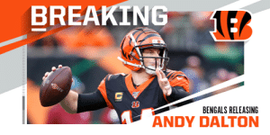 BREAKING: Bengals releasing QB Andy Dalton. (via @TomPelissero) https://t.co/QNaTLbjXyf: BREAKING: Bengals releasing QB Andy Dalton. (via @TomPelissero) https://t.co/QNaTLbjXyf
