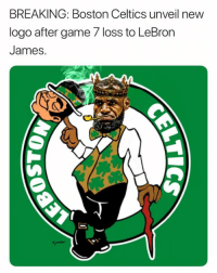 Credit - Eli Junior: BREAKING: Boston Celtics unveil new  logo after game 7 loss to LeBron  James. Credit - Eli Junior