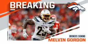 BREAKING: Broncos and RB Melvin Gordon have agreed to terms on a two-year deal worth $16M. (via @RapSheet) https://t.co/aFk3pX8pzI: BREAKING: Broncos and RB Melvin Gordon have agreed to terms on a two-year deal worth $16M. (via @RapSheet) https://t.co/aFk3pX8pzI