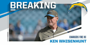 Chargers fire offensive coordinator Ken Whisenhunt. https://t.co/SRSPQR4hFh: BREAKING  CHARGERS FIRE OC  KEN WHISENHUNT Chargers fire offensive coordinator Ken Whisenhunt. https://t.co/SRSPQR4hFh