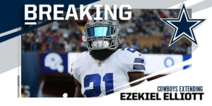 The @dallascowboys and RB @EzekielElliott agree on a 6-year, $90M extension that makes him the highest-paid RB in the NFL. (via @RapSheet + @SlaterNFL) https://t.co/XBnFpj06aA: BREAKING  COWBOYS EXTENDING  EZEKIEL ELLIOTT The @dallascowboys and RB @EzekielElliott agree on a 6-year, $90M extension that makes him the highest-paid RB in the NFL. (via @RapSheet + @SlaterNFL) https://t.co/XBnFpj06aA