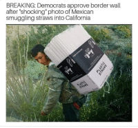 "California, Conservative, and Mexican: BREAKING: Democrats approve border wall  after ""shocking"" photo of Mexican  smuggling straws into California"