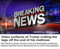 Fbi, Jail, and Memes: BREAKING  GRAPHIC by: Bart Daugherty  Video surfaces of Trump cutting the  tags off the end of his mattress  FBI director James Comey vows to immediately prosecute.  Obama confirms this is solid proof he is unfit to be president Probably going to jail for a long time.