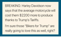"bikers: BREAKING: Harley Davidson now  says that the average motorcycle will  cost them $2200 more to produce  thanks to Trump's Tariffs.  I'm sure those ""Bikers for Trump"" are  really going to love this as well, right?"