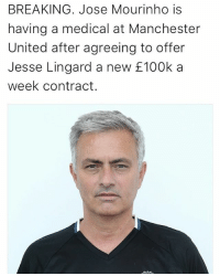 Making sure he is okay 😂🌡: BREAKING. Jose Mourinho is  having a medical at Manchester  United after agreeing to offer  Jesse Lingard a new 100k a  week contract. Making sure he is okay 😂🌡