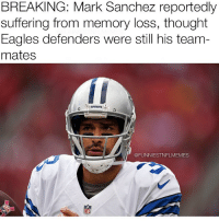 Nfl, Eagle, and Mark Sanchez: BREAKING: Mark Sanchez reportedly  suffering from memory loss, thought  Eagles defenders were still his team  mates  @FUNNIESTNFLMEMES Maybe trading Romo wouldn't be the best decision @footballinsanity