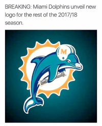 Memes, Party, and Miami Dolphins: BREAKING: Miami Dolphins unveil new  logo for the rest of the 2017/18  season  (M Poor guy was just trynna party. 😭😭😭😭