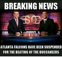 When will the violence end??  Credit - Shawn Joseph: BREAKING NEWS  ATLANTA FALCONS HAVE BEEN SUSPENDED  FOR THE BEATING OF THE BUCCANEERS When will the violence end??  Credit - Shawn Joseph
