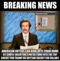 Make sure to tell every voter you know!  #VoteNobody2016 H/t: Ron Burgundy: BREAKING NEWS  BREAKING NEWS  FBIVISFORVOLUNTARY  AMERICAN VOTERS CAN NOW VOTE FROM HOME  SOCKET FOR TRUMPOR BOTTOM SOCKET FOR HILLARY Make sure to tell every voter you know!  #VoteNobody2016 H/t: Ron Burgundy