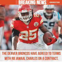 Denver Broncos, Memes, and News: BREAKING NEWS  @BRONCOSTODAY  Riddell  THE DENVER BRONCOS HAVE AGREED TOTERMS  WITH RB JAMAAL CHARLES ON A CONTRACT Welcome to Denver, @djcharles25 UPDATE: Deal is 1-Year-$3.75M BroncosCountry