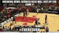 D-Rose Suiting Up for GAME 4! Credit: Ezekiel Soriano  http://whatdoumeme.com/meme/220o90: BREAKING NEWS: DERRICK ROSE WILL SUITUP FOR  GAME 4  adidas  ESTI CHI LO MIA 2  1st  11:04  1.6  #THERETURN  Brought By Fac  ebook  com/NBA Memes  atDOUMeme.com D-Rose Suiting Up for GAME 4! Credit: Ezekiel Soriano  http://whatdoumeme.com/meme/220o90