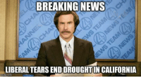 Oh the salty goodness!: BREAKING NEWS  LIBERAL TEARS ENDDROUGHTIN CALIFORNIA  imgflip.com Oh the salty goodness!