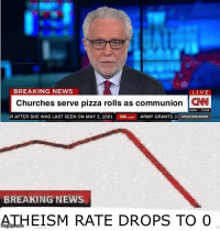 News, Pizza, and Army: BREAKING NEWS  LIVE  Churches serve pizza rolls as communion W  (R AFTER SHE WAS LAST SEEN ON MAY 2, 2001  aed.com  ARMY GRANTS DI SITUATION ROOM  BREAKING NEWS  ATHEISM RATE DROPS TO O