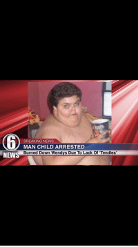 man child: BREAKING NEWS  MAN CHILD ARRESTED  Burned Down wendys Due To Lack Of 'Tendies'  NEWS
