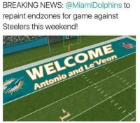 Steelers: BREAKING NEWS: @MiamiDolphins to  repaint endzones for game against  Steelers this weekend!  WELCOME  Antonio and Le'Veon
