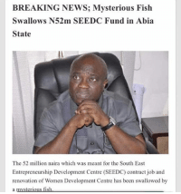 Funny, Memes, and News: BREAKING NEWS; Mysterious Fish  Swallows N52m SEEDC Fund in Abia  State  The 52 million naira which was meant for the South East  Entrepreneurship Development Centre (SEEDC) contract job and  renovation of Women Development Centre has been swallowed by What do y'all suggest we do to this country? 😒😒😒😩😩😩 . . KraksTV Funny humor bants 36million 70million jambsnake monkey