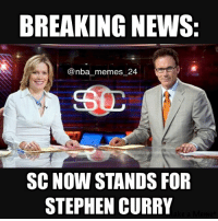SportsCenter be like... 😂 nbamemes nba_memes_24: BREAKING NEWS:  nba memes 24  SC NOW STANDS FOR  STEPHEN CURRY SportsCenter be like... 😂 nbamemes nba_memes_24